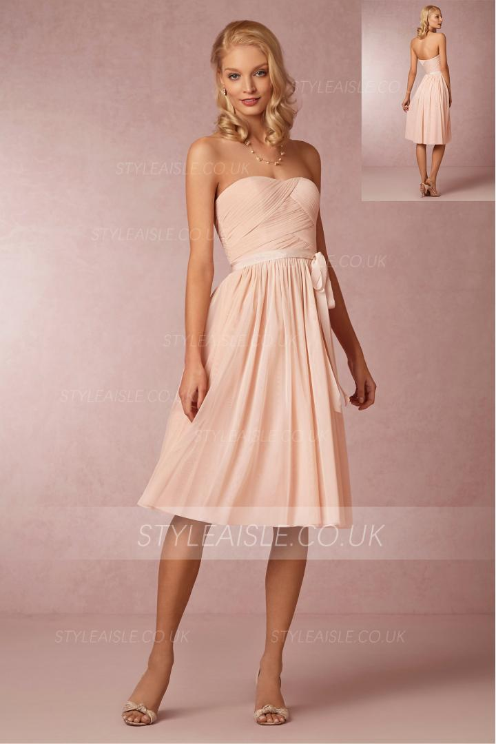 Vinatge Strapless Pleated Bodice Knee Length Chiffon Bridesmaid Dress with Sash
