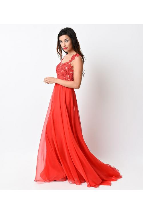 Chic Sleeveless Lace Bodice Long Coral Chiffon Prom Dress