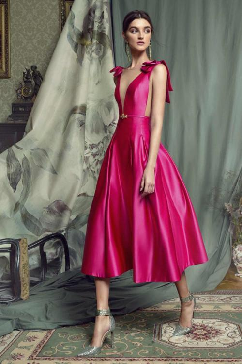 A-line Bateau Neckline Bows Sashes/Ribbons Tea-length Short Satin Prom Dresses