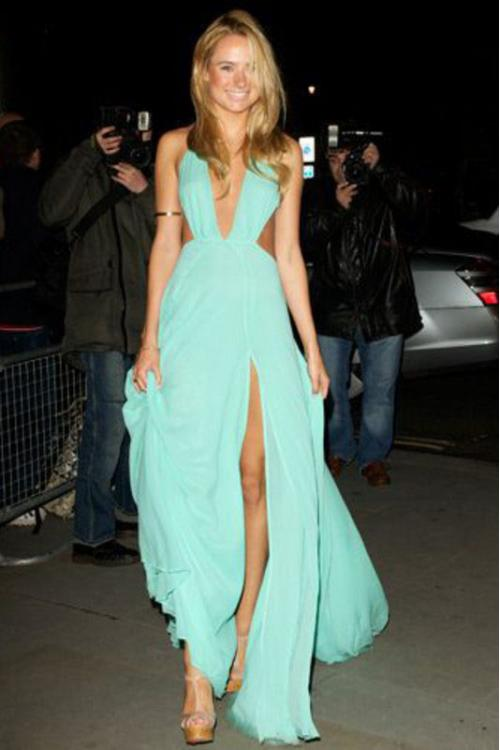 Sexy kimberley garner Backless A-line Long Sleeveless Split Chiffon Prom Dress