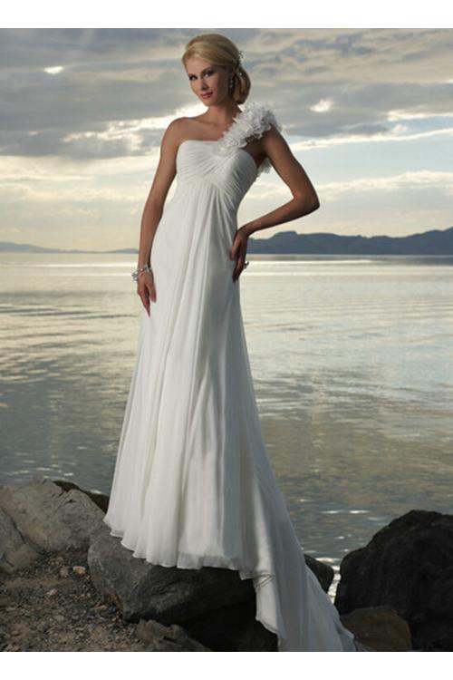 Sleeveless One Shoulder Long Chiffon Wedding Dress with Hand Made Flowers