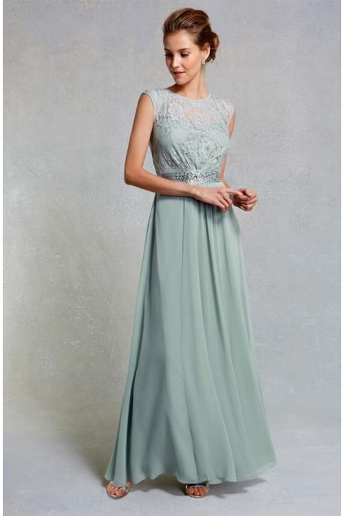 Muted Mint Cream Scoop Neck Floral Lace Bodice Sleeveless A-line Long Chiffon Bridesmaid Dress
