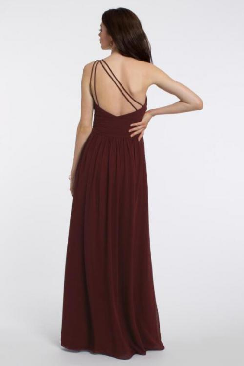 Sleeveless Pleated One Shoulder A-line Long Chiffon Bridesmaid Dress