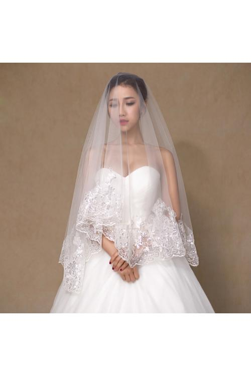 Charming Ivory One-Tier Sequins Lace Tulle Wedding Veils