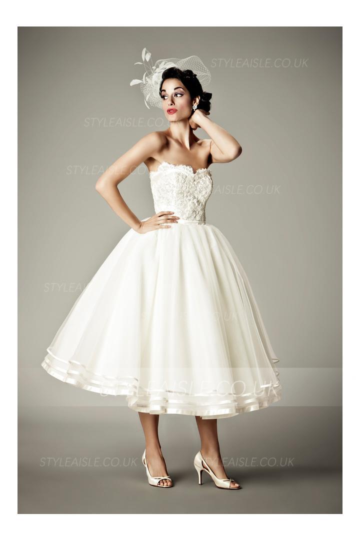 Retro Vintage Strapless Lace Tea Length Wedding Dress