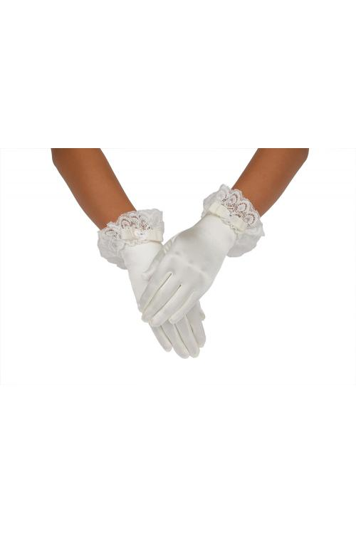 Ivory Full Short Bow-knot Lace Trimmed Girls Gloves 2BL