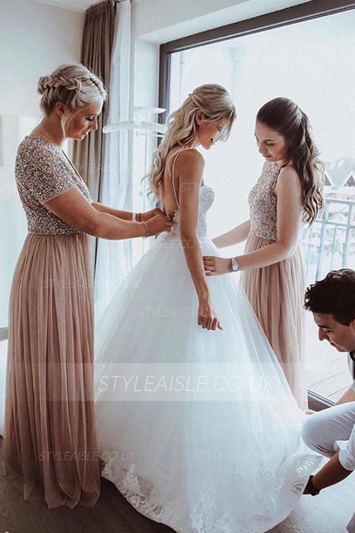 A-line V-neck/ Scoop Neckline Beading Floor-length Long Tulle Bridesmaid Dresses with 2 Styles (Style A / B)