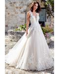 Illusion V Neck Princess A-line Lace Appliques Wedding Dress