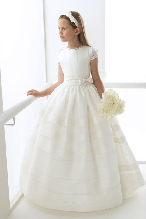 Short Sleeves Long Ball Gown Ivory Organza Holy Organza Communion Dress with Bow