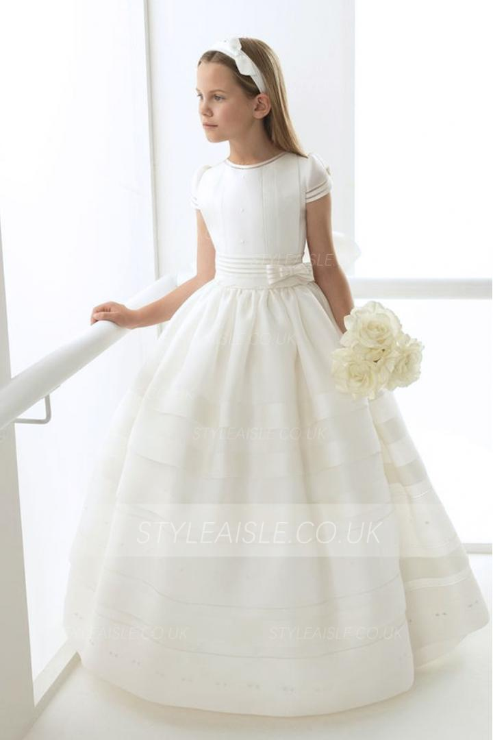 Short Sleeves Long Ball Gown Ivory Organza Holy Communion Dress with Bow