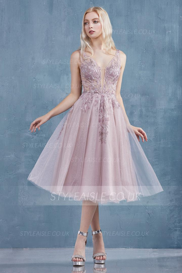 Elegant & Charming V-neck Sleeveless Lace Appliques Tea-length Short Tulle Prom Dress
