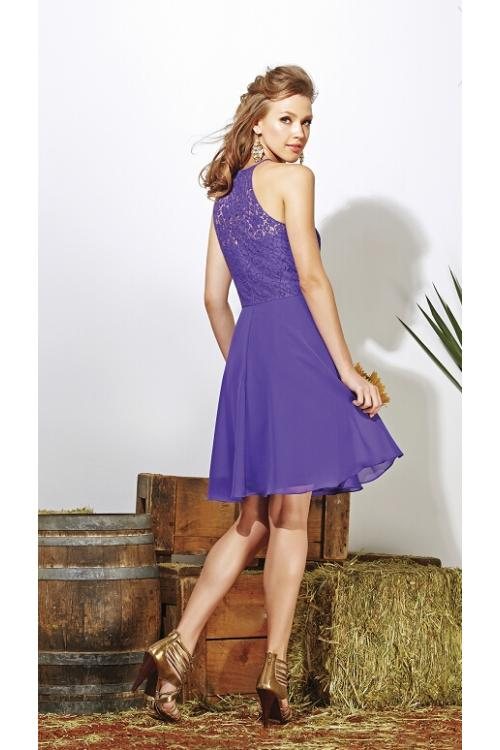Halter Neck Sleeveless Lace Bodice Knee Length Chiffon Bridesmaid Dress