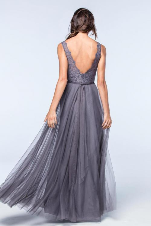 A-line V-neck Sleeveless Lace Top Floor-length Long Tulle Bridesmaid Dressess