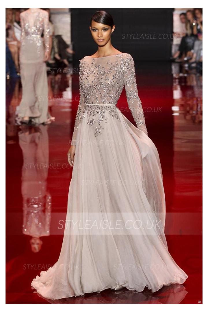 Charming A-line Long Sleeve Beading Floor-length Chiffon Prom Dresses