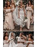 Off-the-shoulder & V-neck Split Floor-length Long Chiffon Bridesmaid Dresses with 3 Styles (A/B/C)