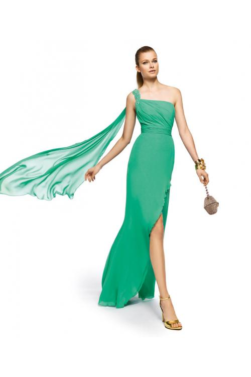 Charming A-line One Shoulder Beading Lace Floor-length Chiffon Cocktail Dresses