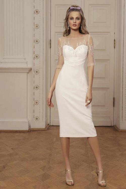 Sheath/Column Illusion Bateau Neck Half-Sleeves Beading Tea-length Short Prom Dress