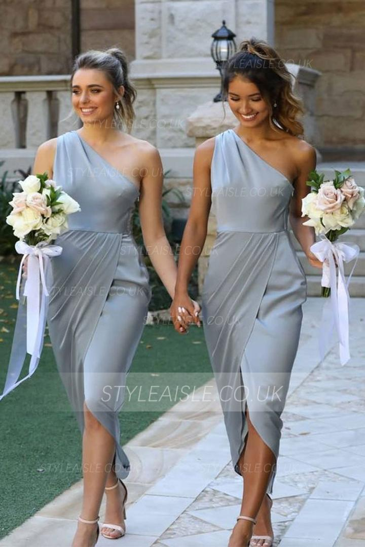 Simple Sheath/Column One Shoulder Sleeveless Ruching High Low Dusty Blue Long Stretch Satin Bridesmaid Dress