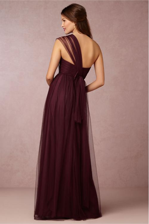 One Shoulder Burgundy Tulle Bridesmaid Dress with Crystal Ribbon
