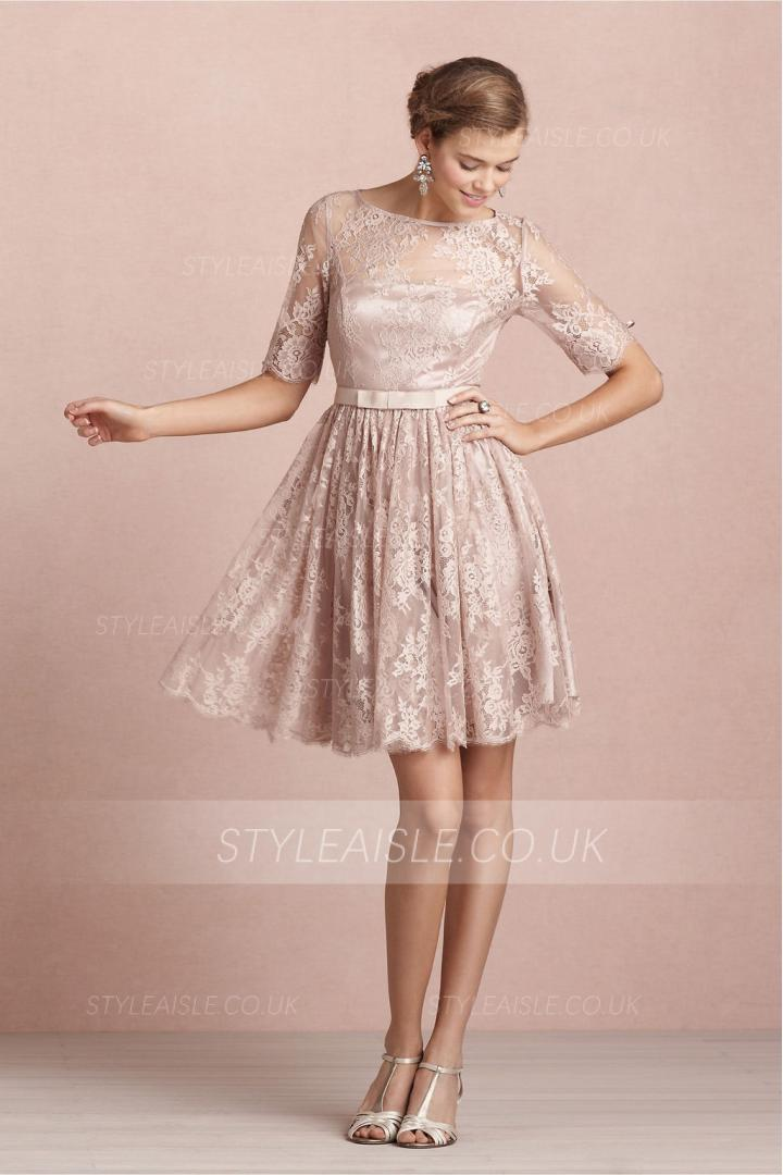 Bateau Neck Long Sleeved Lace Pattern Bridesmaid Dress with Bow Ribbon