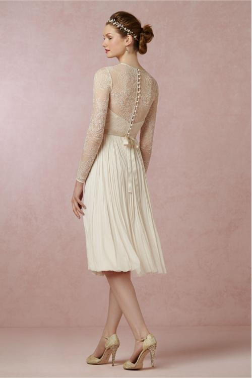 Vintage Illusion Jewel Neck Lace Appliqued A-line Knee Length Chiffon Wedding Dress