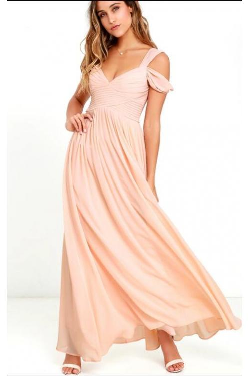 Beach Off Shoulder Pleated Long A-line Blush Chiffon Bridesmaid Dress