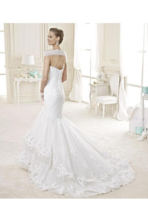 Sexy Trumpet/Mermaid Off-the-shoulder Lace Crystal Chapel Train Organza Wedding Dresses