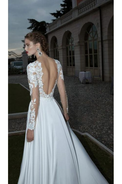 Beach Style Vintage Lace Appliques Split Chiffon Wedding Dress