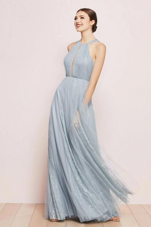 A-line Scoop Neckline Sleeveless Lace Ruching Floor-length Long Tulle Prom Dresses