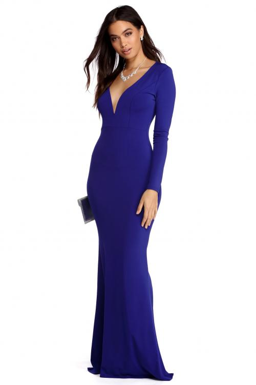 Long Sleeves Deep V Neck Fit Flared Long Royal Blue Jersey Prom Dress