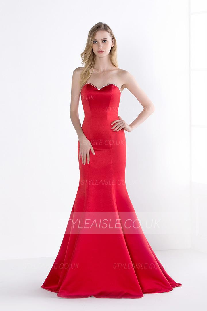 Simple Mermaid Strapless Long Satin Prom Dress