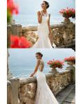 Chic Vintage Lace Appliques Long Blush Mermaid Wedding Dress with transparent tulle on back