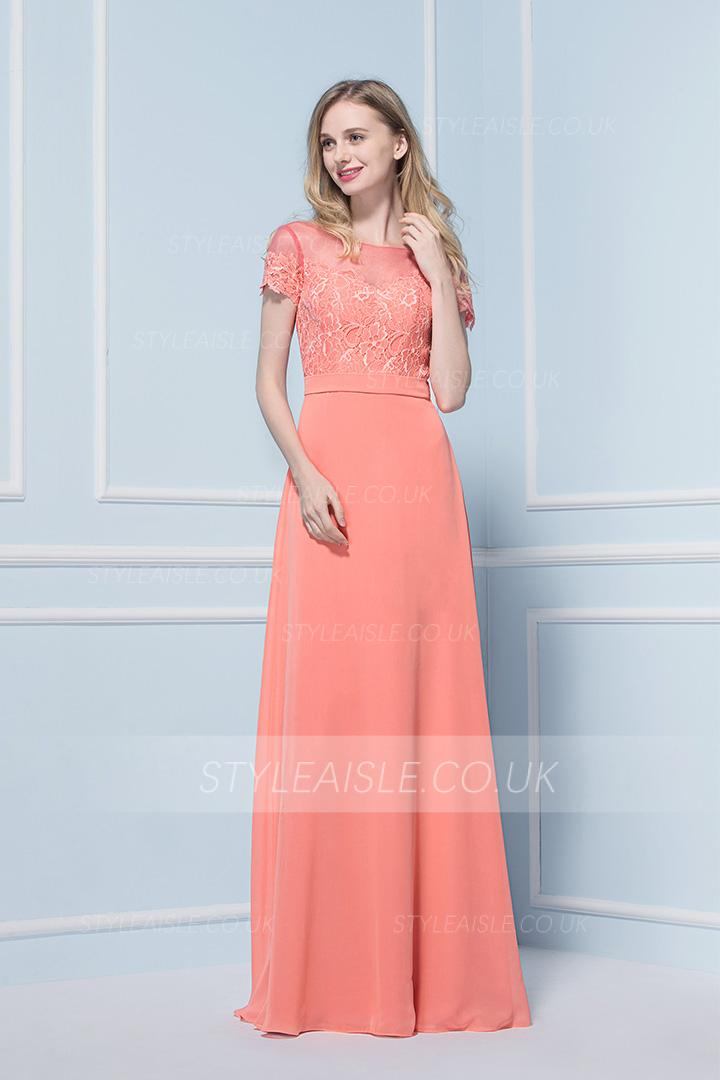 Vintage Inspireds A-line Bateau Short Sleeve Lace Floor-length Long Chiffon Bridesmaid Dress