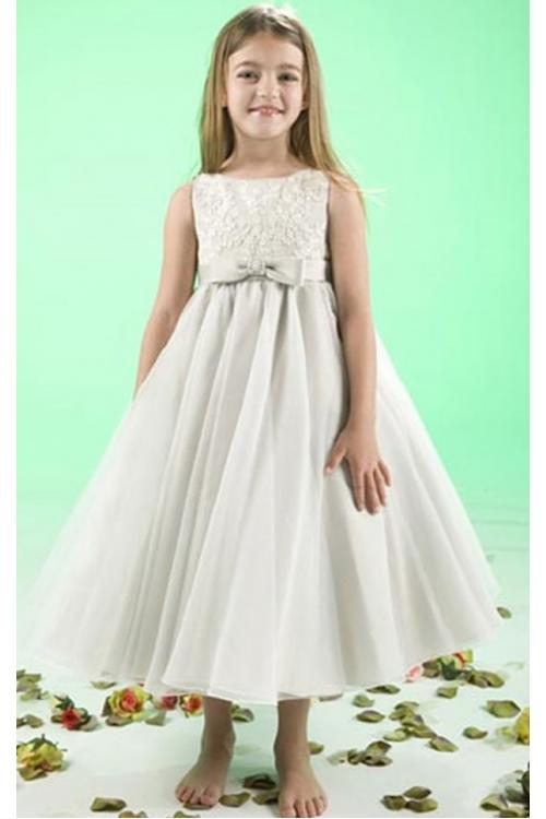Sleeveless Natural Princess Jewel Satin/Tulle Zipper Flower Girl Dresses