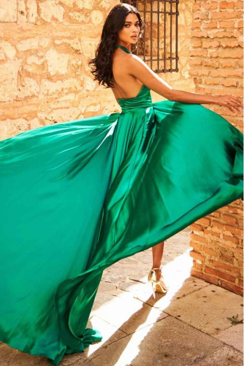 Sleeveless Halter Neck Long Slit Satin Chiffon Prom Dress