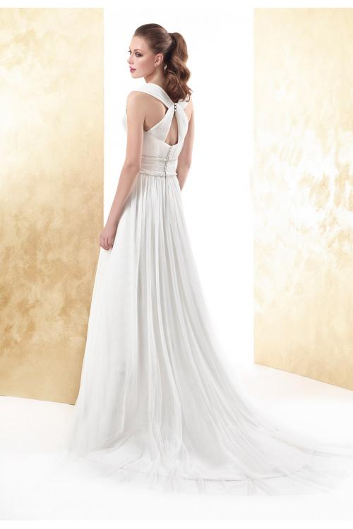 Simple A-line Straps Draping Pearl Sweep/Brush Train Tulle Wedding Dresses