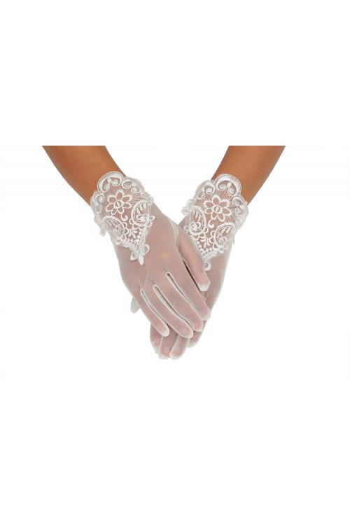 Ivory Full Finger Short Lace Trimmed Wedding Gloves For Bride 2BL
