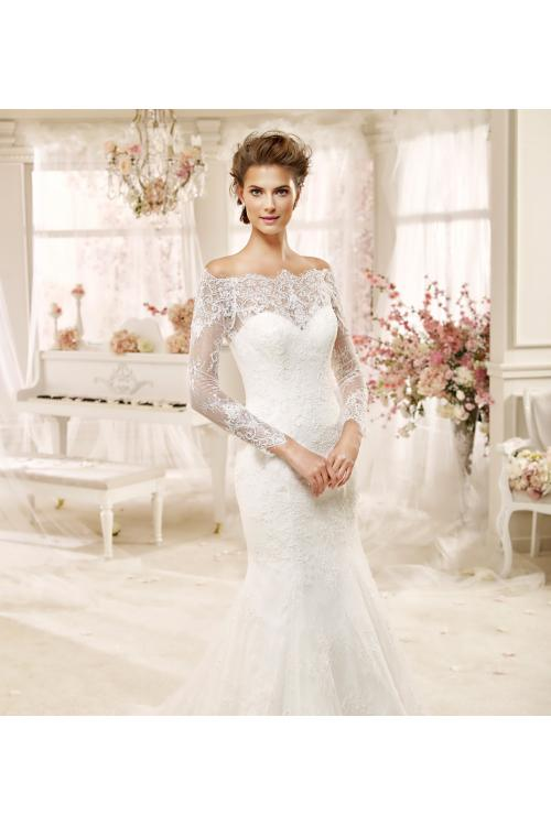 Elegant Off the Shoulder Long Sleeved Lace Detail TulleTrumpet Wedding Dress