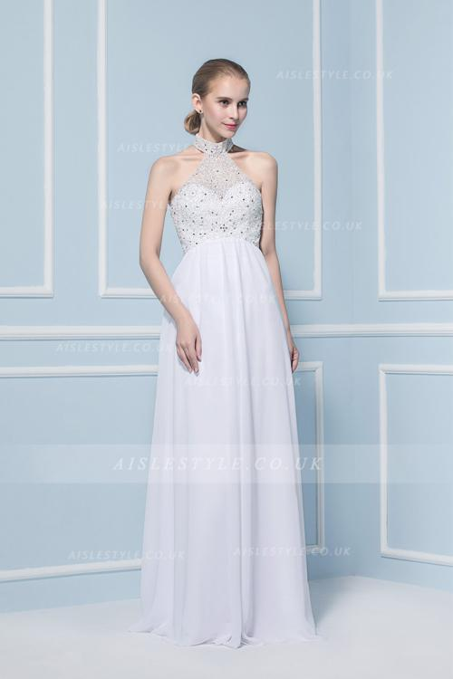 A-line Halter Sleeveless Beading Sweep/Brush Train Wedding Dresses