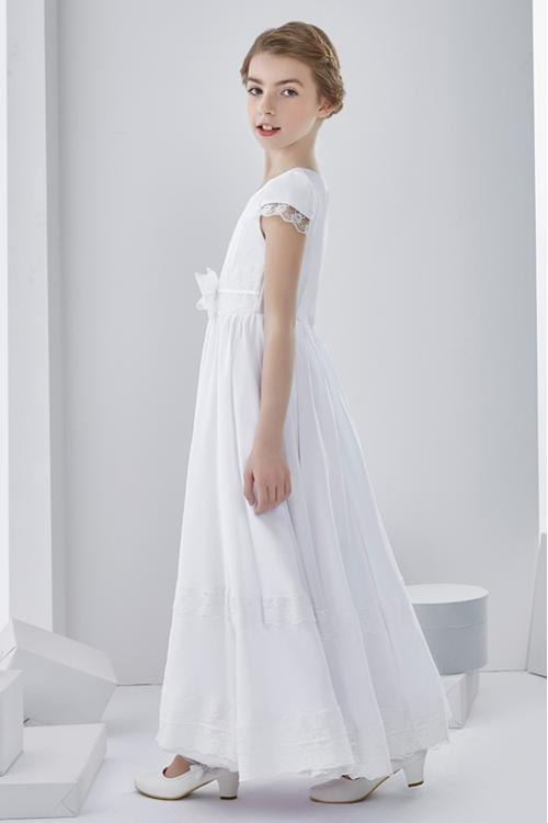 Scoop Neck A-line Long Chiffon First Communion Dress with Bow