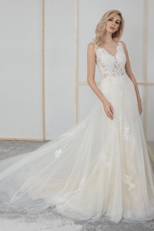 Column Illusion Neck Sleeveless Lace Appliques Beading Court Train Long Tulle Wedding Dresses (Picture shown - Ivory Dress with a layer of champagne tulle inside)