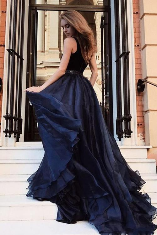 Charming V-neck Velet Top Floor-length Long Chiffon Split Evening Dresses