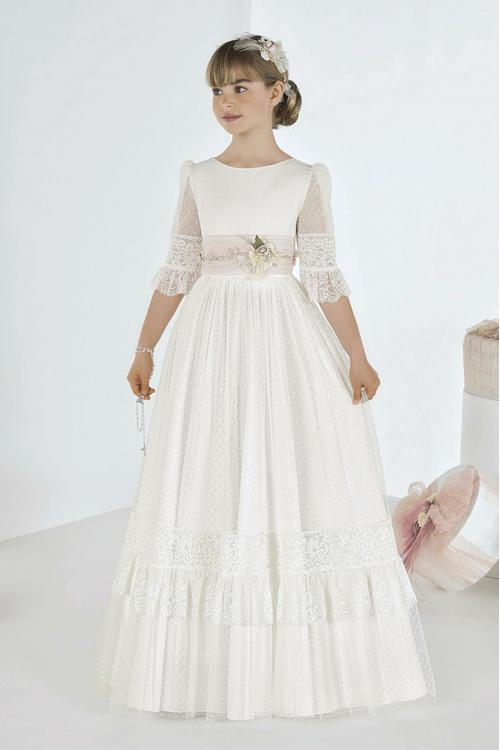 Boho Flutter Lace Sleeves Long A-line 1 st Communion Dress with Flower