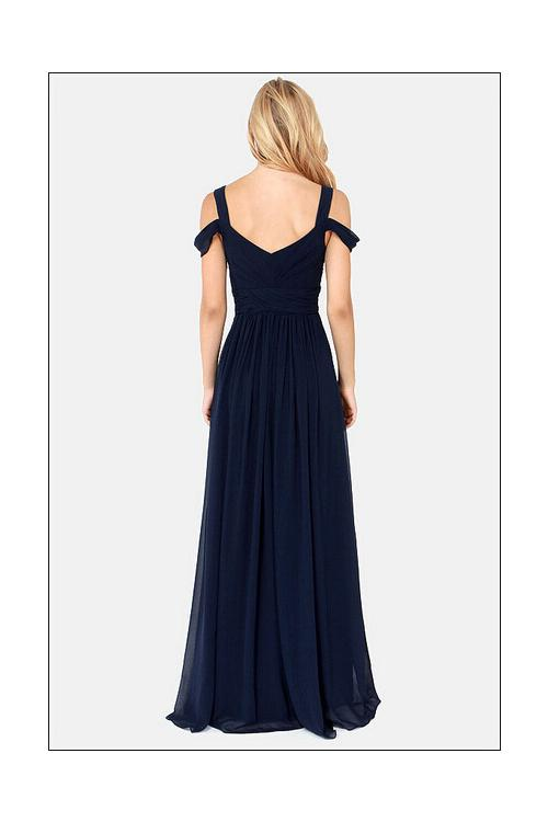 Shoulder Straps Navy Blue Chiffon Split Long Bridesmaid Dress