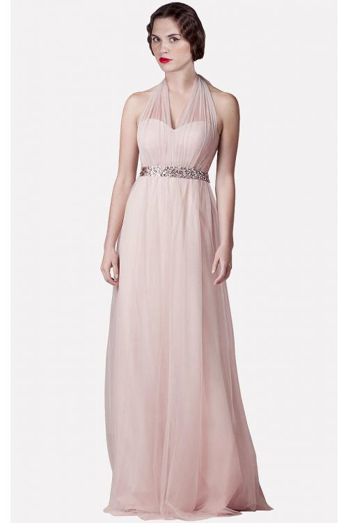 A-line Floor-length Sleeveless Tulle Halter Bridesmaid Dresses