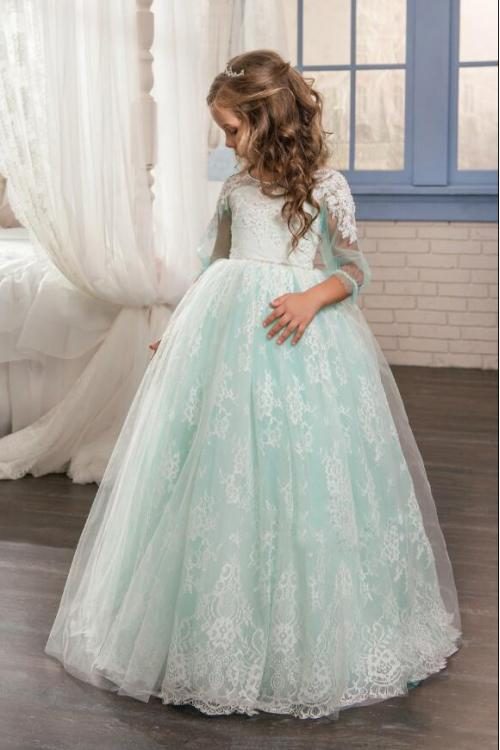 Princess Jewel Long Sleeve Lace ocverlay Tulle Mnt Flower Girl Dresses