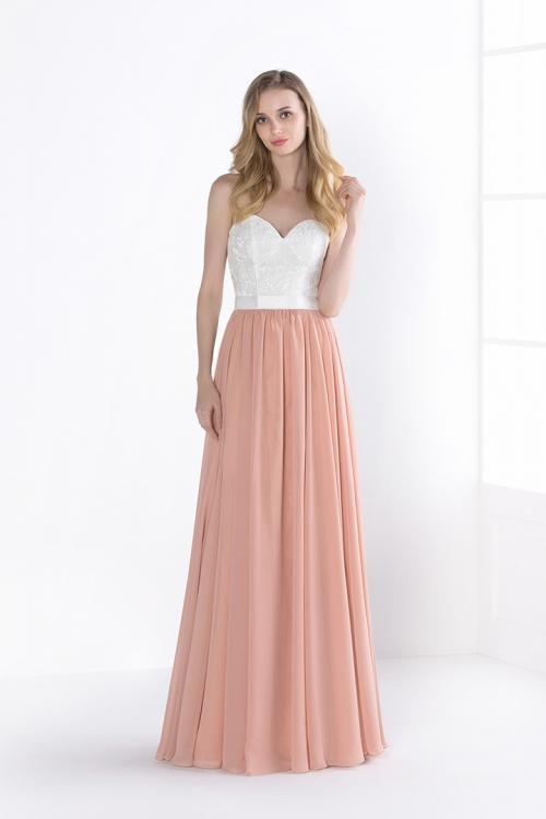 Strapless Sweetheart Lace Bodice A-line Chiffon Bridesmaid Dress