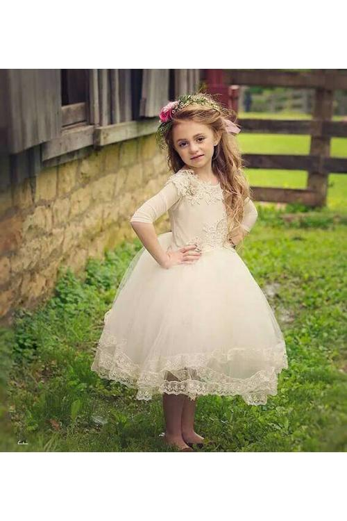 Half Sleeve Lace Bodice Ball Gown Tulle Flower Girl Dress