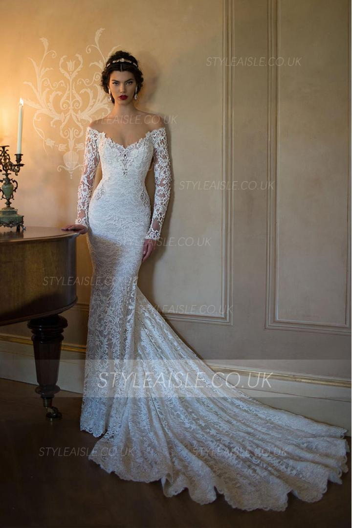 Off the Shoulder V Neck Crystal Detailling Lace Mermaid Wedding Dress with Long Sleeves