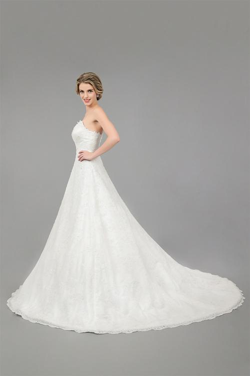 A-line Strapless Sequins Sweep/Brush Train Wedding Dresses